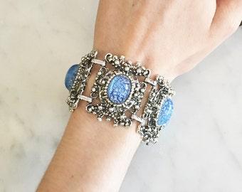 Vintage 50s Wide Foil Opal Bracelet Art Glass Jewelry Unusual Vintage Jewelry