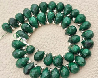 Special 25 Pieces,New Arrival, Dyed Natural EMERALD Faceted Drops Shape Briolettes, Aprx.8-9mm Long, Finest Item