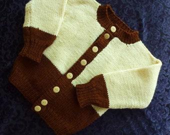 Vintage Train Sweater Ivory Brown Hand Knit Cardigan Little Boy Size 3
