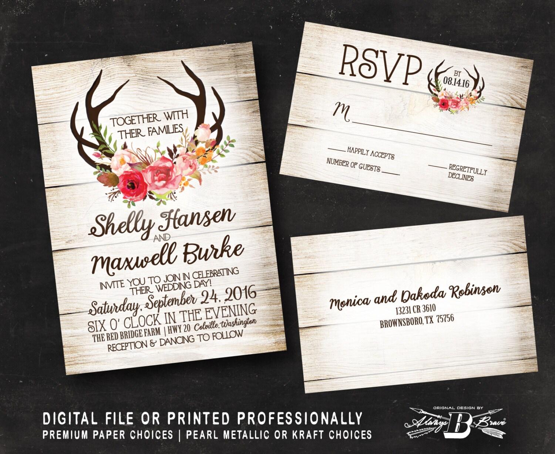 Rustic Wedding Invitation Sets: Rustic Wedding Invitation SET Wood Wedding Invitation