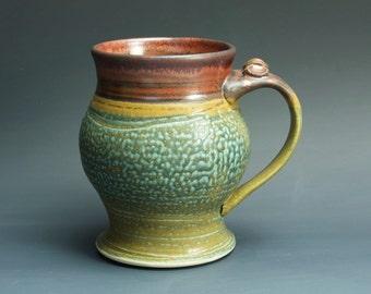 Sale - Pottery beer mug, ceramic mug, large stoneware stein, iron red 24 oz 3296