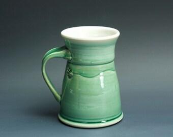 Pottery coffee mug, ceramic mug, stoneware tea cup jade green 14 oz 3380