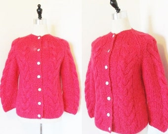 25% OFF SALE Vintage 1960's Pink MOHAIR Sweater Cardigan / Famelia Italian Wool Sweater Size S/M Made in Italy