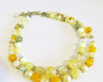 40% OFF SALE Vintage 1960's Yellow Layered Necklace / 50's 60's Retro Beaded Double Strand Choker Necklace