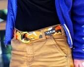 Fat Nylon Belt with Yellow Powder Coat D-Rings - Sunset Camo