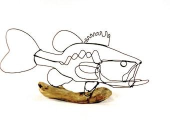 Bass Wire Sculpture, Fish Wire Art, Minimal Design Art, Wire Folk Art, 398087875