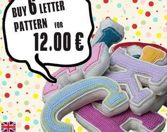 Special Deal -  Buy 6 crochet letter pattern, PDF in English, Deutsch