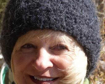 Women's fashion black crochet hat women's winter accessories ski clothing