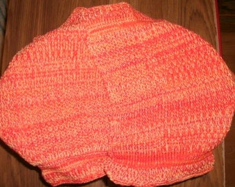 Two large orange fiery Pre-shrunk 100 percent Cotton Machine knit Dish Cloths...11 inches X 12 inches