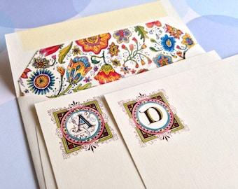 Personalized Stationery, Custom Note Cards, Monogram,  Set of 10