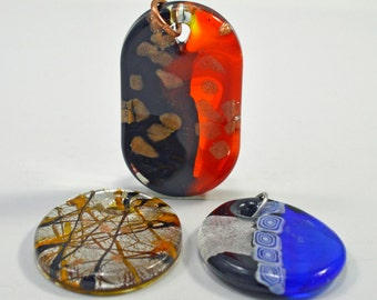 Murano style glass pendants, 3 sizes - #1607