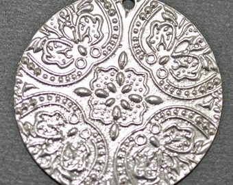antique silver plated pewter, 42mm pendant - #1944