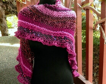 Hand Knit Kerchief Shawl in Shades of Pink and Purple