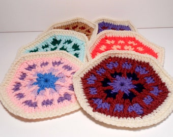 Hexagons, Pack of 6 Hexagons, Destash Hexagons, Crocheted Hexagons