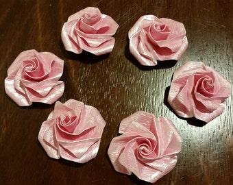 Pearl paper roses, set of 6