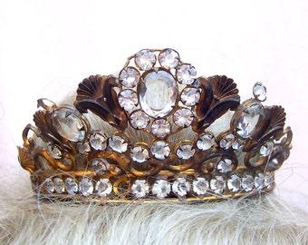Vintage santos crown for Virgin Mary or saint shabby crown diadem hair accessory headdress headpiece hair ornament (AAD)