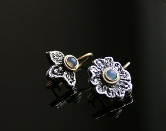 Dainty asymmetrical sterling silver lace earrings - with 14k gold ear wires and  natural opal cabochons