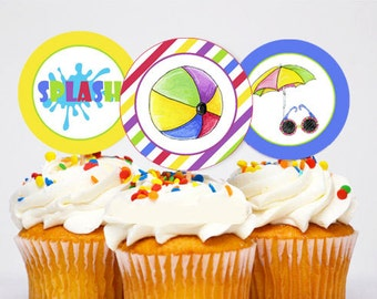 Swim or Pool Party Cupcake toppers ~ Printable 2 inch circles