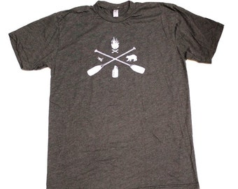 Cabincore Hand Printed Mens Camping Canoeing T-Shirt White on Heathered Charcoal