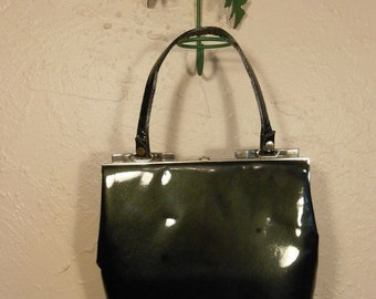 60% OFF It's My Everything Bag - 1950s Dark Forest Olive Green Patent Leather Handbag - Nicholas Reich