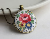 Colorful Necklace, Vintage Fabric Jewelry, Boho Pendant, Floral Print, Hippie Jewelry, Retro, Unique Gift, Red, Blue, Yellow, Rose Necklace