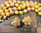 Yellow Gold Pearl Necklace & Cluster Earrings VINTAGE Stunning Beads Pearls Necklace Earrings Vintage Jewelry Ready to Wear 50's (L173)