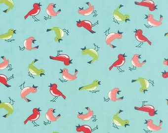 Little Bird Print in Aqua from the Vintage Picnic Collection, by Moda