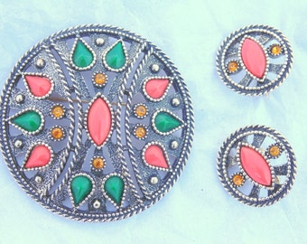 EMMONS BROOCH & EARRINGS Set Ethnic large 2 1/2 inch Pin w/ matching signed Clip Earrings vintage 1970s