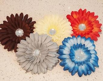 Pack of 12- 4 inch Rhinestone Gerber Daisy Flower Heads -Silk Flower Heads Scrapbook, Headband, Wedding Craft Supplies Accessories Floral