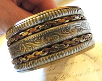 Wide Boho Bangle Vintage Bracelet Ornate Pattern Silver Brass Mixed Metal