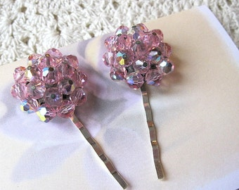 Wedding hair pins, pink glass bead hair pins, vintage earring hair pins, vintage bobby pins, bridal hair pins, upcycled, Lily Whitepad