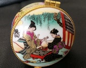 Vintage Porcelain Trinket Box Asian Women Playing a Game