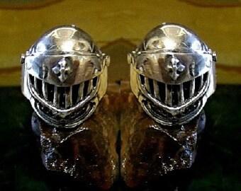 Knights Helmet Cufflinks Sterling Silver Free Domestic Shipping