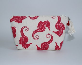 Melon Red Seahorses Printed on Canvas Cosmetic Bag/Clutch Medium Size