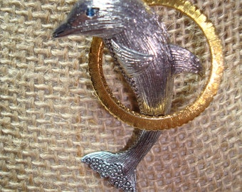 Liz Calibone Pewter and Gold Tone Dolphin Pin.
