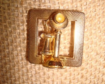 1960s Gold Tone Candlestick Telephone Pin.