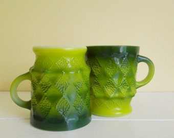 Vintage Anchor Hocking Mugs, Kimberley Diamond Pattern, Avocado Green, 1970's Fire King, Set of 2
