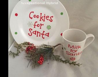 Cookies for Santa, Milk for Santa, Glass Plate, Ceramic Mug, Chhristmas, Santa, Holidays, Decorative Plate