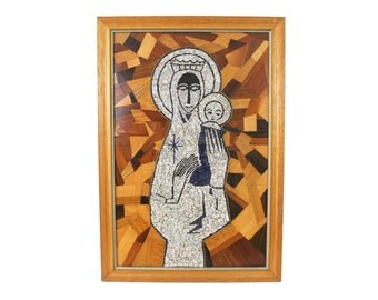 "Mid-Century Modern Framed Mosaic Wall Hanging Madonna and Child Religious Art 20"" wide x 29"" high"