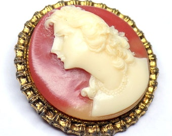 """1960s Round Cameo Brooch, Resin Cameo Pin with Female Carving, Gold Frame, 1.5"""" Diameter"""