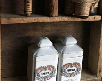 Adhesive and Gauze White Porcelain Antique Apothecary Jars and Lids