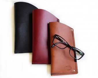 Leather Eyeglasses Case, Mens or Womens Leather Glasses Case, Leather Sunglasses Sleeve, Large Case, Can Be Personalized, Monogrammed