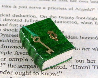 Miniature Book Necklace Charm Under Lock and Key Green and Gold
