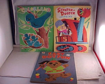 1960s Coloring Books and 1980 Dot To Dot Book