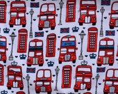 British Phone Booth, double decker bus, London sights Lounge pants pajama dorm lounge flannel made to order your choice size XS - 2X