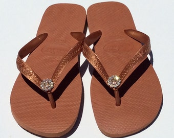 Havaiana Crystal Flower Flip Flop Copper Gold with Swarovski Crystal Flower , Size 10 only Sale !