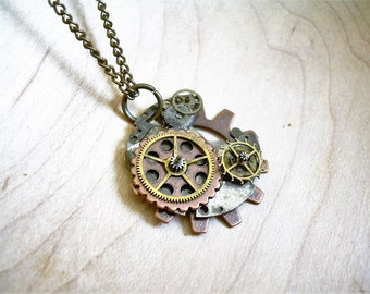 Steampunk Clockwork Necklace ~ Handbuilt, Recycled Materials, Industrial Chic, Gift for Her