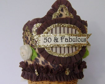 50th Birthday Party Crown, 50th birthday party Hat,  50 and FABULOUS or customize