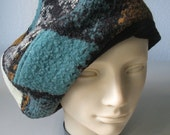 Slouchy beret made from a vintage blanket