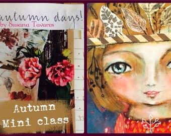 Autumn mini art class -  portrait painting, journaling, creative class, painting online workshop